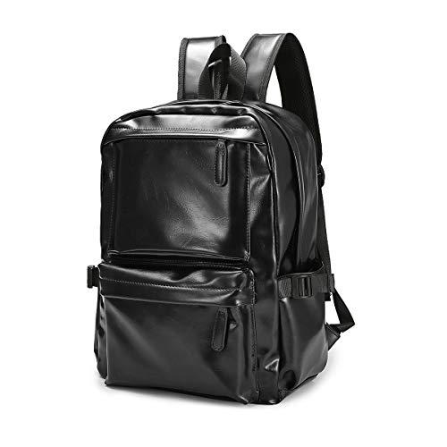 Zaino per Laptop da Viaggio, JOSEKO Zaino per Laptop Backpack in Pelle da Viaggio Zaino in pelle per Uomo e Donna Nero