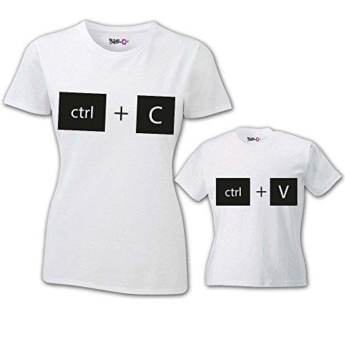 Babloo Coppia di T-Shirt Magliette Mamma E Figlio/Figlia Idea Regalo Festa della Mamma Copia Incolla Bianche Donna M - Bimbo 1-2 Anni