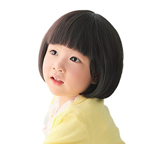 Fashion Black Straight Wigs for Kids Child Flat Bangs Synthetic BOB Cosplay Wig