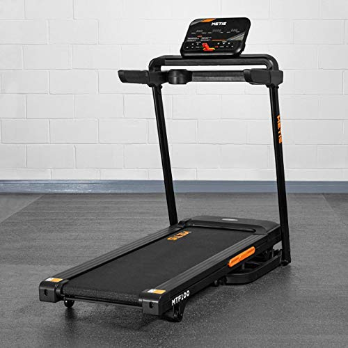 METIS MTF100 Home Folding Treadmill - 0.8-12kph   Running Machine - 9 Programs + Tracking   Incline Treadmill With Speakers   Exercise Machines For Home & Office