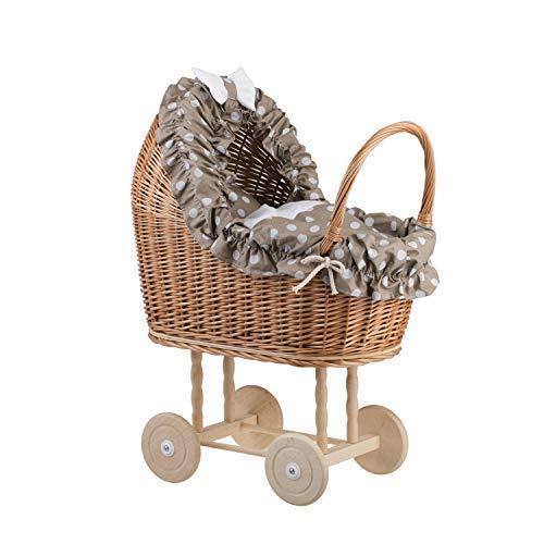 e-wicker24 EIN Wagen, EIN Bett für Puppen aus Weide, Spielzeug aus Weide, Puppenwagen aus Weide, Korbpuppenwagen, Weidenwagen