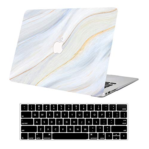 KEROM MacBook Pro 13 inch Case with Retina Display, 2015-2012 Release A1502 A1425, Slim Plastic Hard Protective Case with Keyboard Cover for Old Version MacBook Pro Retina 13 inch, Cream Marble