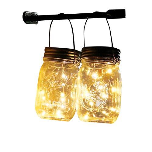 2 Pezzi 30 Led Bianco Caldo Luce Solare Esterno Luci Solari Giardino Lampade Solari Barattolo Mason Jar String Lights Impermeabile Lampade A Sospensione Per Giardino Feste E Decorazioni Natalizie