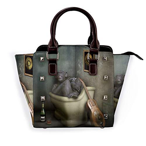 BROWCIN Lustige tierische humorvolle Affe Somking trinken Wein Gitarre VIP Badewanne Genuss Abnehmbare mode trend damen handtasche umhängetasche umhängetasche