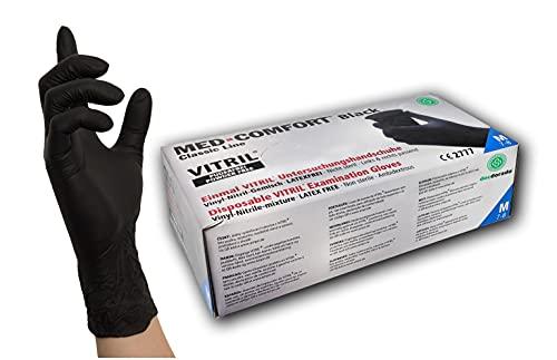 100 Stück Vitrilandschuhe Vinyl-Nitril in Spender-Box - schwarz - Einweghandschuhe Einmalhandschuhe (M)