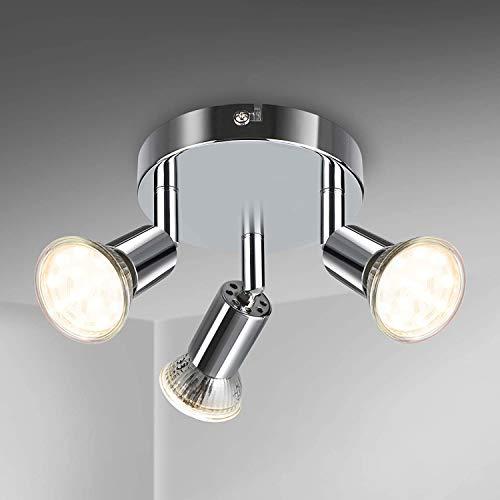 Volasal LED Deckenstrahler 3 Flammig, Schwenkbar LED Deckenleuchte, ø110mm (inkl. 3 x 4W GU10 LED Leuchtmittel, 400LM, Warmweiß) Modern Wohnzimmer LED Deckenspot, Rund LED Deckenlampe