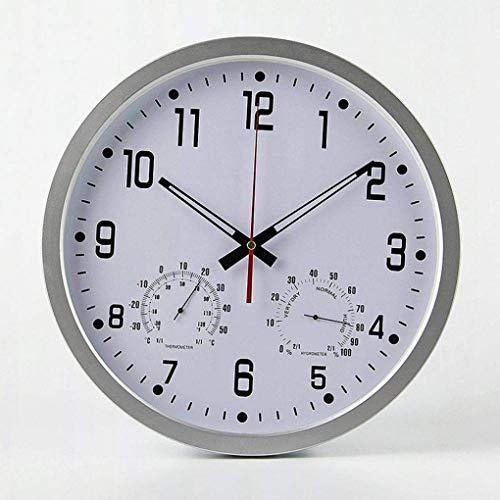 SHJMANPA Uhren Im Freien wasserdichte, Präzise Stumme Verzierung Mit Temperatur Und Luftfeuchtigkeit Außenuhren Für Den Garten Batteriebetrieben, B