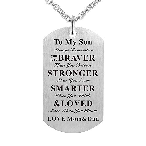 To My Son Gift Jewelry Dog Tag Keychain Pendant Necklace From Mom and Dad