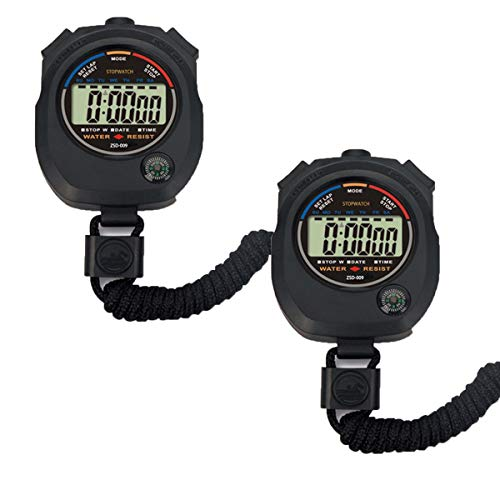 Pgzsy 2 Pack Multi-Function Electronic Digital Sport Stopwatch Timer, Large Display with Date Time and Alarm Function,Suitable for Sports Coaches Fitness Coaches and Referees