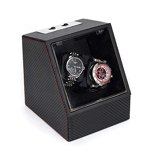 Soporte de reloj Minador de relojes - 2 + 0 Negro Automático Reloj mecánico Caja de bobinado Motor Turn Turny Dispositivo de reloj MOVER ROTOR WATCH SHAKER Caja de almacenamiento Titular de la