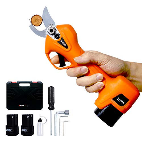Kebtek Pruning Shears Battery Powered, Cordless Electric Pruning Shears with 2 Pack Backup Rechargeable 2Ah Lithium Battery Powered Tree Branch Pruner, 25mm [0.98inch] Cutting diammeter (Orange)