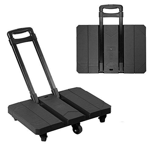 PEIQI Gepäckwagen Leicht Klappbar Leichtgewichtiger Transportkarre mit 360-Grads Design Räder Tragbar Für Reisen/Geschäftsreise/Schwerlasttransport 200 Kg/440 lbs Kapazität,Black