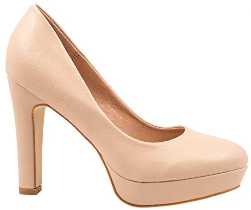 Elara Jumex Damen High Heels Schuhe Plateau Pumps Chunkyrayan E22321-Beige-41