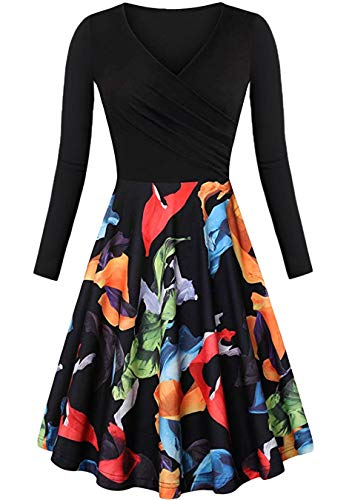 EFOFEI - Vestido casual de manga larga para mujer, estilo Audrey Hepburn Congé Floral / Noir XS