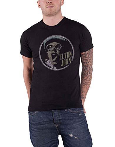 Elton John T Shirt Rocketman Portrait Circle Distressed offiziell Herren Schwarz