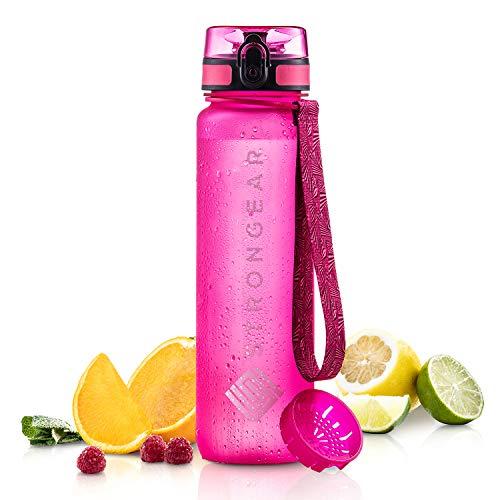 STRONGEAR PREMIUM Trinkflasche - 650 ml, 1000 ml - Sportflasche mit Fruchtsieb - 100% BPA frei - auslaufsicher - Fitnessflasche für Uni, Sport, Yoga, Fahrrad - wiederverwendbar