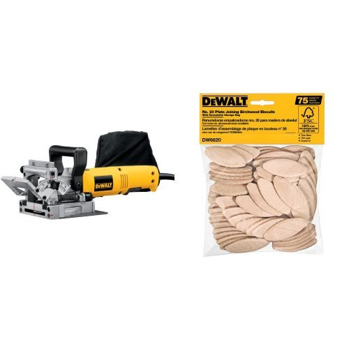 DEWALT DW682K 6.5 Amp Plate Joiner with No. 20 Size Joining Biscuits (75 Pieces)