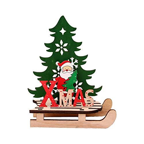 genialkiki Kerst Decoraties, Houten Kerstboom Decoratie, Geschilderd Houten Gemonteerd DIY Sneeuwscooter Ornamenten DIY Sleigh Auto Jigsaw Puzzel voor Kinderen Volwassenen
