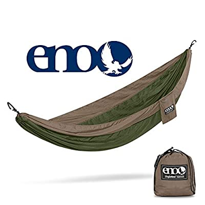 ENO, Eagles Nest Outfitters SingleNest Lightweight Camping Hammock, Khaki/Olive