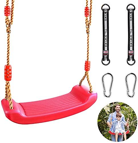 Altalena in plastica elastica da giardino, per bambini, con corda regolabile in altezza, portata fino a 100 kg (rosso)