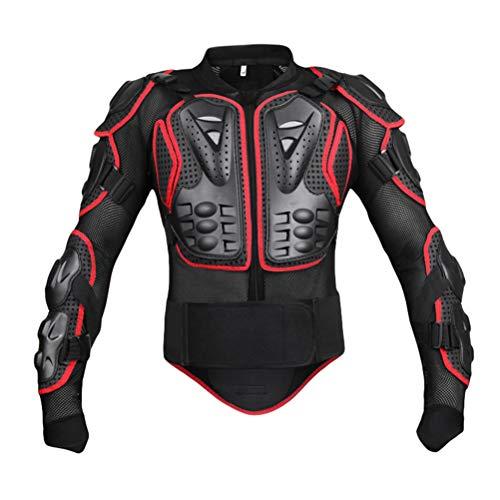 JEELINBORE Motorradjacke Herren Rückenprotektor Motorradbekleidung Motocross Protektoren Jacke für Damen - Schwarz Rot, M
