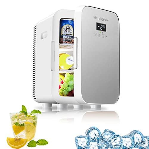 MOZX Mini Refrigerador, Mini Nevera Pequeña Portátil con Pantalla Digital LED, Mini Nevera con Función De Frío Y Calor, Frigoríficos Mini para Coche Y Casa, 12 V/220 V