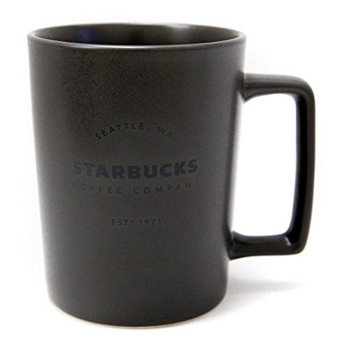 New Starbucks Seattle Matte Charcoal Black Handle Coffee Mug, 16 fl oz.
