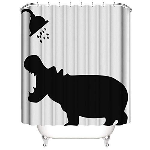 BANGONG Cartoon 3D digitaler HD-Druck wasserdicht & Schimmel Badezimmer Duschvorhang, kreative Trennvorhang mit Tiermuster verdicktem Polyestertuch, mit 12 Haken-Nashorn_150 * 180 cm
