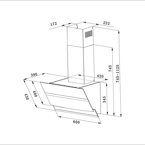 CIARRA Campana Extractora 60cm 750m³/h 210W -Pantalla Táctil - 3 Velocidades - Evacuación al Exterior y Recirculación Interna por Filtro de Carbón CBCF003-Cristal & Acero Inox. Negro