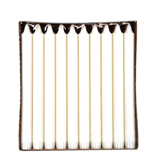 30 Kronkerzen, Ø 2,3 cm, 24 cm, weiss, aus 100 % Stearin, Papstar 86416