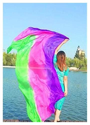 Huiyue Silk Belly Dance Silk Veil Tiro de Mano Bufanda Shaw Shawl Degradado 200 cm 250cm 270cm 300cm Faldas (Color : Clear, Size : 250X114CM)