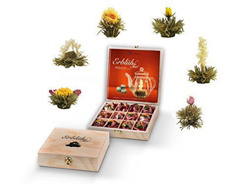 Creano Teeblumen Geschenkset in Teekiste aus Holz, 12 Erblühtee in 6 Sorten Weißtee