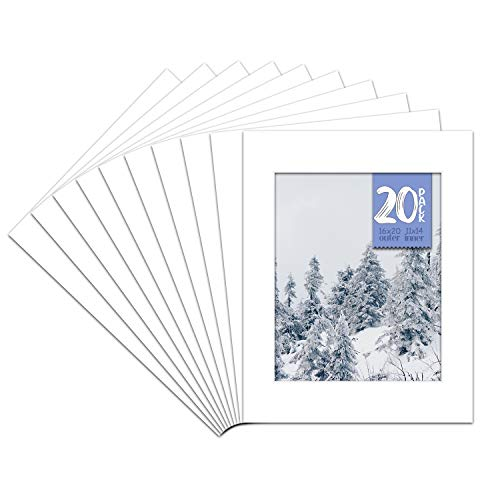 Golden State Art, Pack of 20 16x20 White Picture Mats with White Core Bevel Cut for 11x14 Pictures