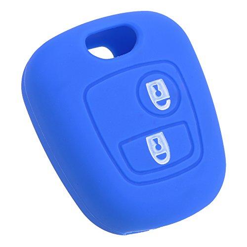 iTimo Funda de silicona para llave de coche con 2 botones para Citroen C1 C2 C3 C4 C5 C8, Peugeot 107 207 307 407 106 306 406