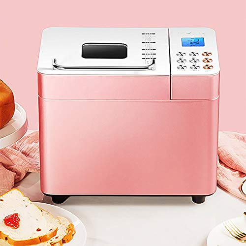 Stainless Steel Bread Machine,Bread Maker with Setting,Automatic Almost Bread Machine for Bread,Dough,ice-Cream,Yogurt Pink 35cm
