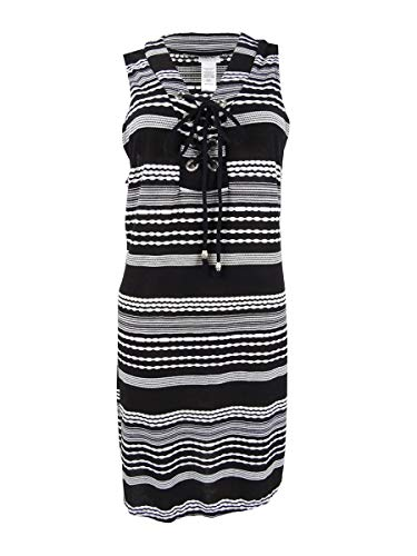 Dotti Ibiza Stripe Laced-Up w/Grommets Tunic Cover-Up Black/White LG