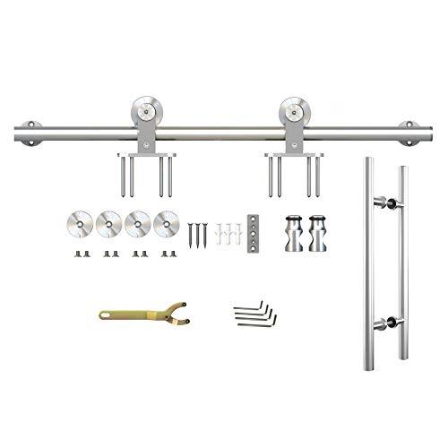 inova Beschlagset Edelstahl 200cm für Schiebetür Laufschiene Schiebetürbeschlag Schiebetürsystem + mit Stangengriff