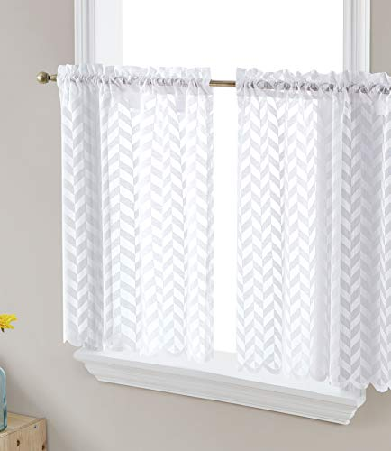 HLC.ME Herringbone Lace Sheer Kitchen Cafe Curtain Tiers for Small Windows & Bathroom - 30 W x 24 L Inch (White Tiers, Set of 2)