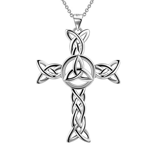 Besilver Celtic Knot Cross Necklace Charm for Men Women 925 Sterling Silver Trinity Knot Pendant Necklace Irish Jewelry Gift for Wife Girlfrined FP0028W