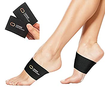 Copper Compression Copper Arch Support - 2 Plantar Fasciitis Braces/Sleeves Guaranteed Highest Copper Content Foot Care Heel Spurs Feet Pain Flat Arches  1 Pair Black - One Size Fits All