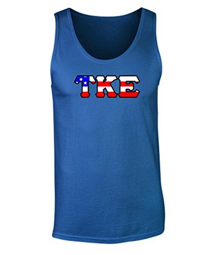 Fashion Greek Tau Kappa Epsilon American Flag Tank Top Royal 2XL