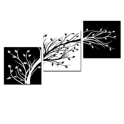Wieco Art Giclée-Leinwanddruck, 3 Paneele, Blumen, schwarz und weiß, abstrakte Blumen, Bäume, Bilder, Gemälde auf Leinwand, Wandkunst für Wohnzimmer, Schlafzimmer, Heimdekoration