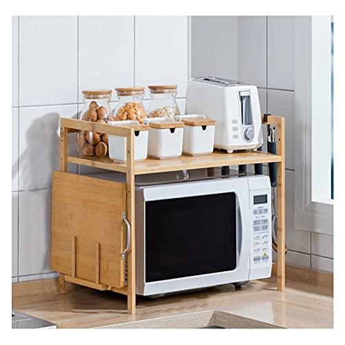 GZZG Estante para Microondas Estante De Bambú Ajustable En Altura De 2/3 Niveles Estantes De Almacenamiento De Cocina Organizador De Especias Soporte para Utensilios De Cocina