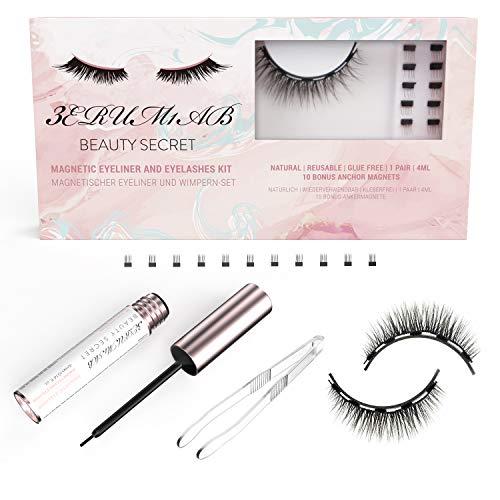 3erum1ab Luxuriöse weiche leichte wiederverwendbare magnetische Wimpern und Eyeliner-Bündel für Make-up, Natural Look Wimpern & Eyeliner & 10 Bonus-Ankermagnete
