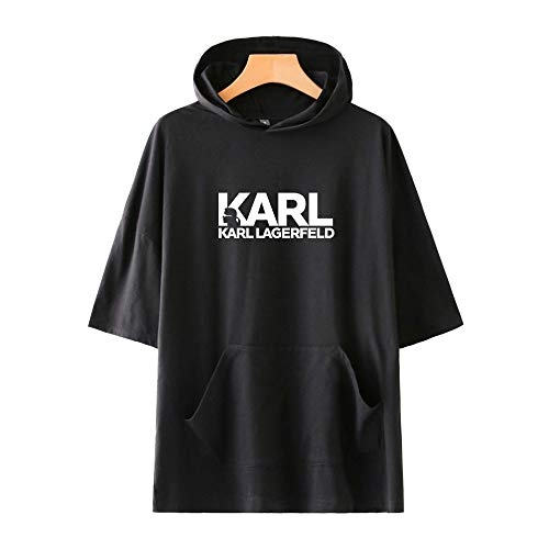 GIJK Creative Five Point Sleeve T-Shirt Hoodie Casual Karl Lagerfeld Sommer Casual Wild Loose 3D HD Druck Mode Kapuzenpullover 2XS-4XL für neutrales Workout, schwarz 2, XXX-Large
