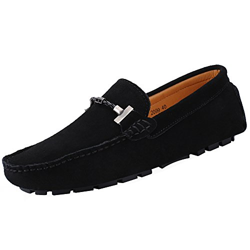 Jamron Mens Elegant Buckle Loafers Comfort Suede Driving Shoes Stylish...