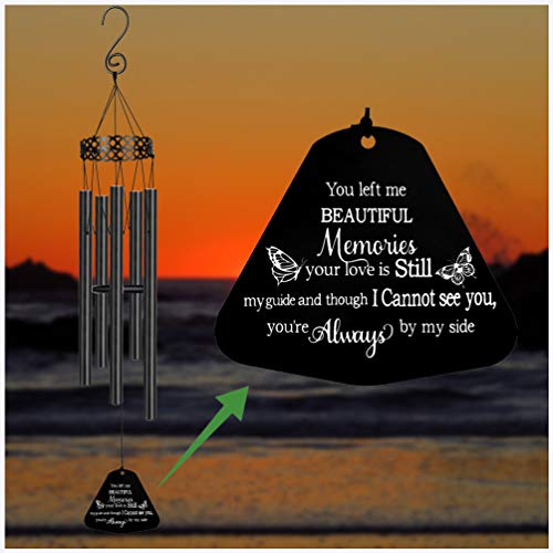 MEMGIFT Memorial Wind Chime in Memory of Loved One 30 inches Large Black Sympathy WindChimes for Garden Porch Heaven Remembering Father Mother Sister