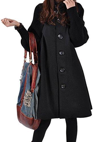 HAHAEMMA Dames Fashion winterjas lang gebreide jas fleece knoop swing wijde poncho cape stijl opstaande kraag jas winterjas loose fit jurk