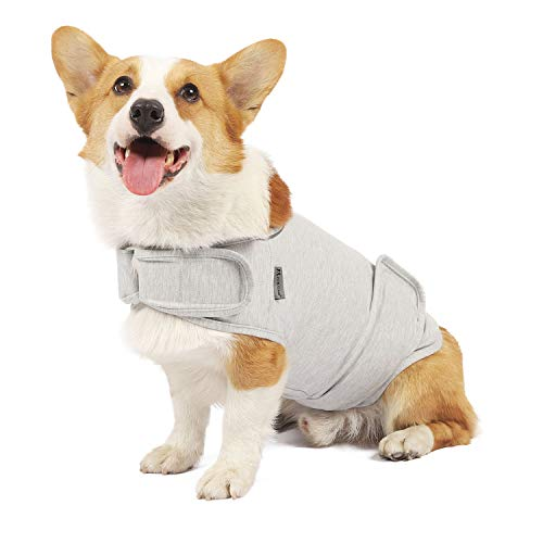 Apetian Anxiety Vest for Dogs Thunder Jacket Calming Shirts for Dogs Anxiety Jacket Dog Compression Vest Calming Wrap (A2-Light Grey, Medium)