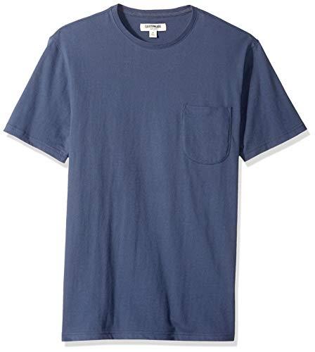 Amazon-Marke: Goodthreads Herren-T-Shirt Kurzarm mit Rundhalsausschnitt, aus Jersey in Wildlederoptik, Navy, US S (EU S)